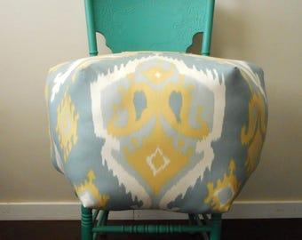 ikat pouf, Bohemian Ottoman Pouf, Floor stool, Moroccan, Gold & Blue, Saffron ikat, Unique Decor for Home or Dorm, Pouffe, Foot Stool, Boho