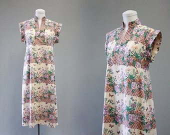 FLORAL ARRANGEMENT Vintage 70s Dress | 1970's Floral Garden Sun Dress | Novelty Print Handmade Dress | Boho, Hippie, Festival | Size Medium