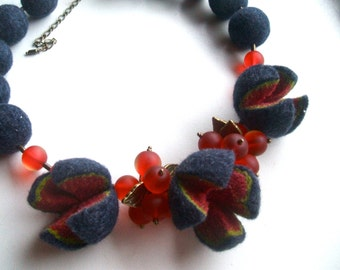 Necklace with  glass beads Felted necklace blue jeans color felt necklace  Handmade OOAK Wool necklace