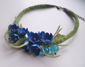 Necklace with silk cocoons Romantic handmade flowers necklace - felt necklace- floral accessories - handmade- wool necklace