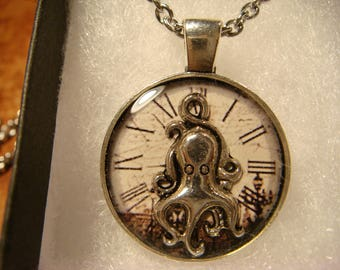 Small Silver Octopus over Clock Pendant Necklace (2407)