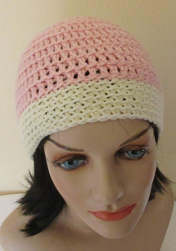 Pink Beanie with Cream Brim, Crochet Beanie, Cold Weather Accessory, Hockey Mom, Snow Playing, Ice Skating, Pink Snow Hat, Women's Pink Hat