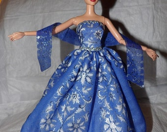 Royal blue & silver print silk formal and matching scarf for Fashion Dolls - ed923