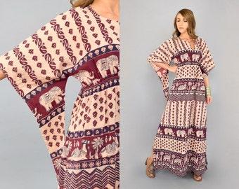 70's Angel Sleeve Elephant Dress