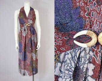 70s Vintage Floral Print Metallic Halter Maxi Dress (XXS, XS Petite)