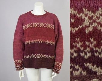 90s Vintage Ombre Rolled Wool Knit Oversized Sweater (M, L, XL)