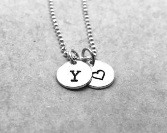 letter y necklace with heart charm sterling silver initial necklace all letters available hand stamped jewelry everyday necklace