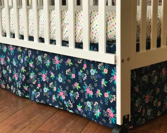 Pink Floral Crib Set | Crib Skirt l Fitted Sheet | Changing Pad Cover | Baby Girl Bedding | Custom Nursery Decor | Flower |