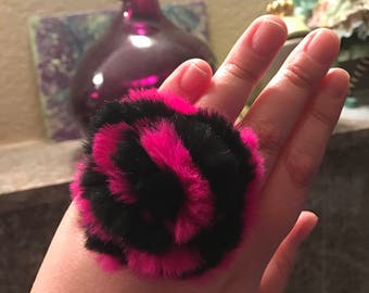 Large Fluffy Pom Pom Ring in Dark Pink and Black Handmade OOAK One of A Kind Statement Ring