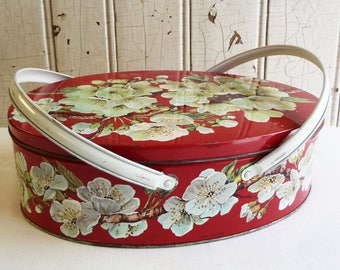 Vintage Basket Tin with Handles - Apple Blossoms - Flowered Tin - Oval Biscuit Tin - Sewing Box - Mid-Century 1960s - Made in England