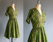 Vintage 1940's - 1950's Rolling Dice Silk Dress / Women's Size Small to Medium / Retro Preppy High Roller Kitsch