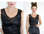 HOLIDAY SALE Vintage LEATHER Cutout Sheer Lace Top // Vintage Clothing by TatiTati Style on Etsy