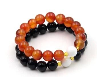 2Pcs 10mm(Red,Black)Prayer Beads Tibetan Buddhist Mala Bracelets Jewelry Set  T3339