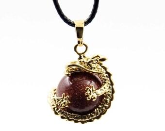 Goldstone Bead Alloy Metal Dragon Pendant Necklace 26mm*20mm  T3357