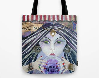 THE AMAZING, Gypsy Fortune Teller, Art Tote, Art Bag, Unique Carry All, Bohemian Art, Artist Style, Unique Travel Bag, Beach Bag, Tote, Bag