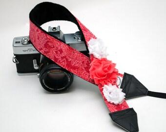 Camera Strap - DSLR Camera Straps - Padded Camera Strap - Canon Strap - NIkon Strap  - Photographer Gift - Coral Paisley - READY to SHIP