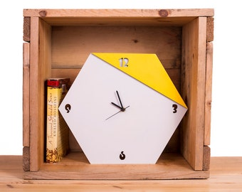 Hexagonal modern wall clock, yellow and grey unique clock, wooden clock, kitchen clock, livingroom clock
