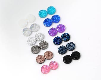 24pcs 8mm Faux Druzy Sampler, Faux Crystal Clusters Cabochons Chunky Nuggets