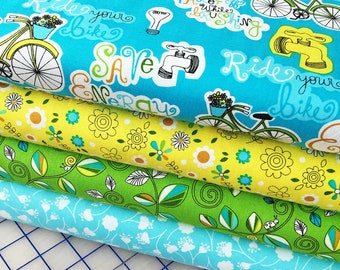 SALE! ~ Go Green Save Energy ~ Bicycle ~ Quilt Fabric Fat Quarters ~ Aqua ~ Michael Miller ~ SALE!