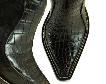 Leather Boots, Cowboy Boots:  Brown Croc Z Boot