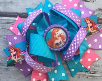 Boutique Baby Girls Layered Ariel Little Mermaid Hair Bow Clip Ariel Hair Clip Disney Inspired Little Mermaid Hair Bow Clip