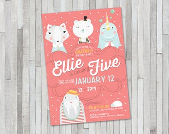 Arctic Animal Birthday Invitation