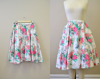 1980s Floral Circle Skirt