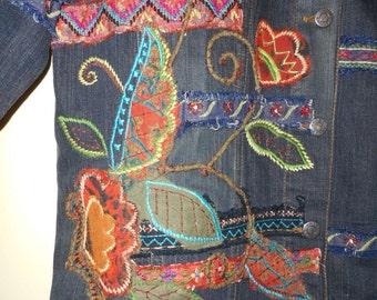 Denim Jean Jacket Embroidered Sz 12 14 CLUB embroidery Designer