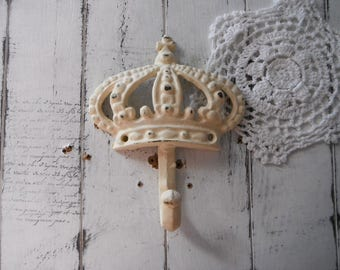 dark antique white crown hook cream wall hook cottage decor clothing hook cream hook rustic hook cottage chic nursery decor shabby decor
