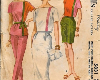 Vintage 1950s 1960s McCall's 5831 Blouse, Skirt, Pants, Shorts Sewing Pattern Size 12 Bust 32