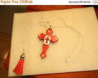 RED HOWLITE CROSS Pendant on Silver Plate Link Chain Necklace w/Silver Cross, Tassel & Rhinestone Embellishments
