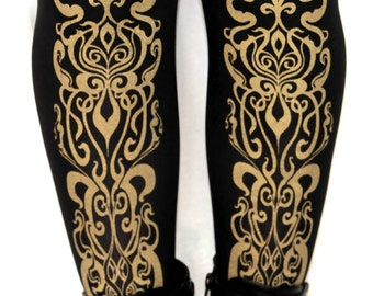 Art Nouveau Printed Tights Medium Tall Gold on Black 80 D Mucha Pattern Street Style Dolly Kei Lolita