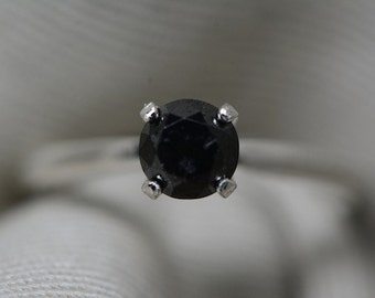 Black Diamond Ring, Certified 0.80 Carat Black Diamond Solitaire Ring Appraised at 800.00, Real Natural Genuine Diamond Jewelry