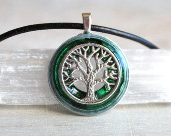 forest green tree of life necklace, mens jewelry, celtic jewelry, mens necklace, unique boyfriend gift, wiccan nature necklace, oak tree