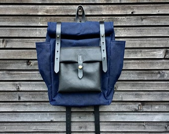 Wax Canvas Backpack / Hipster Backpack with roll up top and double bottle pocket