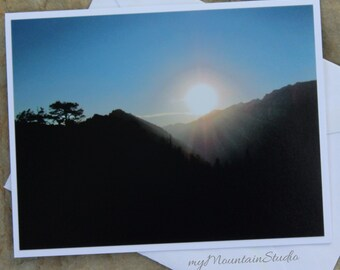 Sun Setting Photo Note Card. Evening View from Goat Mountain. Montana Landscape Photography.