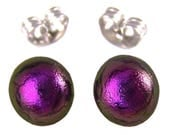 "Tiny Stud Dichroic Post Earrings - 1/4"" 6mm 7mm - Purple Violet Fused Glass Lolly Pop Studs"