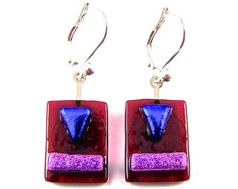 """Dichroic Dangle Earrings - Ruby Red Stained Glass Pink Blue Dichro Highlights Lever Back Fused Glass - 3/4"""" 18mm - Silver Plated Eurowire"""
