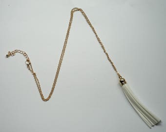 White Gold Tassel Necklace Pendant Long Necklace Faux Suede Leather