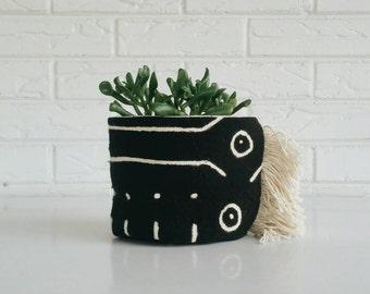 Boho Plant Holder - Vintage Textile Planter - Black Mudcloth Plant Cover with Fringe