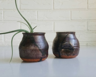 Pair of Brown Mini Vases - Modern Minimalist Accent - Handmade Pottery - Earthy Bohemian