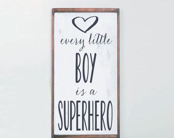 Every Boy Superhero, Boys Room Wood Sign, Cedar Frame, Wall Decor Boys Room, Nursery Decor, Nursery Art, Superhero Room, Rustic Farmhouse