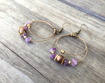 GUITAR STRING EARRINGS - bronze, purple, brown - teens and adults - eco-friendly/upcycled jewelry - under 25.00