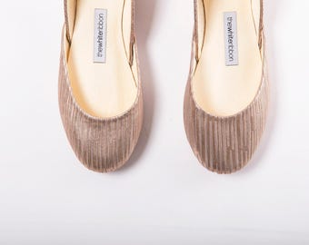The Metallic Ballet Flats in Golden Stripes | Made to Order