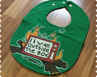 Live Outside the Box Baby Bib, Camping Baby, Recycled T-Shirt Baby Bib, Baby Shower Baby Boy Gift, Camping Outdoors