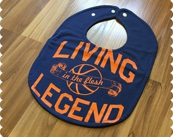 Basketball Baby Bib, Living Legend, Recycled T-Shirt Baby Bib, Gender Neutral Baby Shower Gift, Sports Baby