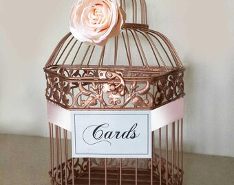 Large Rose Gold Wedding Card Box-Wedding card holder