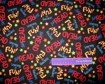 Learning Is Fun Read Stars School Teacher Black Cotton Fabric By The Half Yard