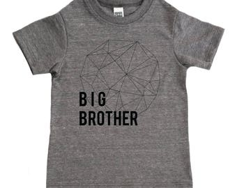 Big Brother Shirt - Modern and Minimal Boys Top - Geometric Diamond Sphere Shape Big Bro Kids Graphic Tee - Boys' Clothing - Kids Boys Shirt