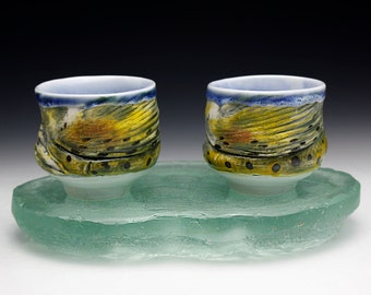 NEW Two Rainbow Trout Cup with Glass River Bottom Base Cone 10 Porcelain Hand Made Tea Bowl  (Nature as Objects)Japan Gyotaku Fish Decor